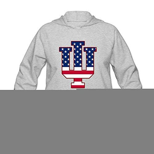 PHOEB Womens Sportswear Drawstring Hoodie Sweatshirt,Indiana IU Flag University Bloomington Ash Large