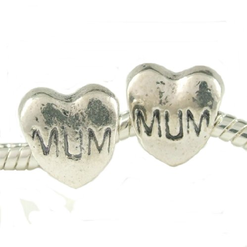 Stone River Sterling Silver Plated Love Mum Charm Bead (Fits Pandora, Chamilia, Biagi,Troll standard Size Bracelet)