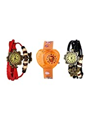 ANALOG KIDS WATCH WITH HELLO KITTY CARTOON PRINTED ON DIAL AND STRAP WITH 2 FREE WOMEN BRACELET WATCH-SET OF 3 - B01BF7HEP0