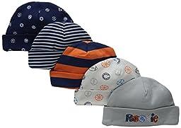 Gerber Baby Boys\' 5 Pack Caps, Sports, Newborn