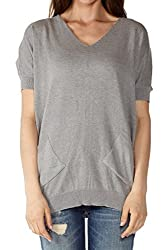 Dinamit Women Short Batwing Sleeve V-Neck Sweater Grey S M