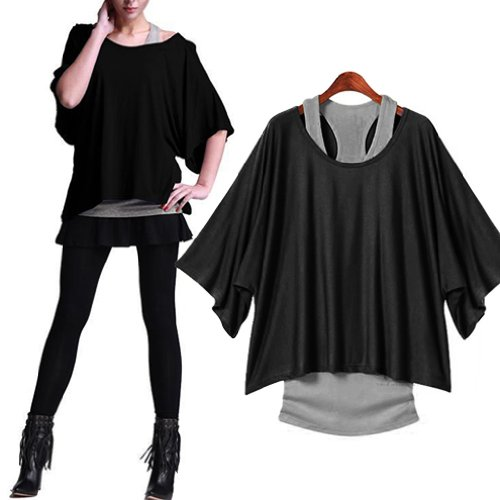 Gleader Donna Top T-shirt di pipistrello 2 in 1 nuovo stile caldo allentato camicette UK 8-18-L (nero)
