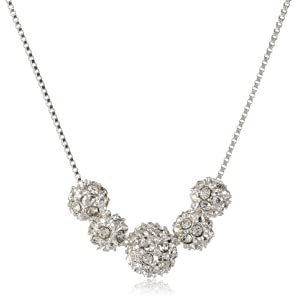 "Anne Klein ""All that Glitters"" Silver-Tone and Crystal Fireball Frontal Necklace, 18.5"""