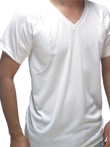 (クレール)CREAL 脇汗パッド付きシャツ ワイドパッド(クールマックス/ラグラン) (LL, ホワイト・Vネック)