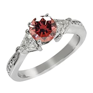 3.63 Ct Round Pink and G/H Diamond 925 Sterling Silver Engagement Ring