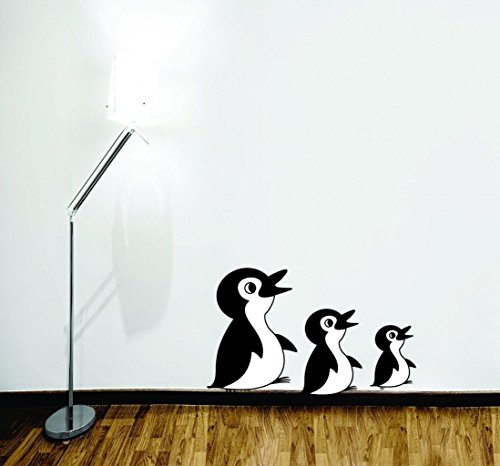 Top Selling Decals - Prices Reduced : 3 Penguins Cartoon Kids Daycare PreSchool Wall Sticker Size : 10 Inches X 15 Inches - 22 Colors Available
