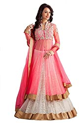 The Zeel Fashion pink Color Net Anarkali Unstitched lehegas and anrkali dress material