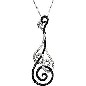 IceCarats Designer Jewelry 14K White Gold 1 1/3 Ctw Black And White Diamond 18 Necklace 18.00 Inch
