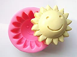 Wocuz W0028 Round Smiling Sun Shape Silicone Carving Soap Mold Fondant Craft Cake Tools