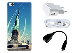 Spygen Xiaomi Mi4 Case Combo of Premium Quality Designer Printed 3D Lightweight Slim Matte Finish Hard Case Back Cover + Charger Adapter + High Speed Data Cable + Premium Quality OTG
