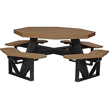 Furniture Barn USA Poly Octagon Picnic Table - Antique Mahogany and Black