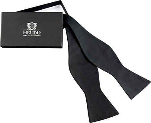 helido elegante seiden fliege zum selber binden f r herren schwarz verstellbar geschenkbox. Black Bedroom Furniture Sets. Home Design Ideas