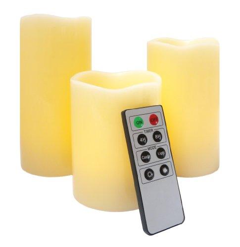 LED Batterie kerzen, 3er flammenlose mit Fernbedienung