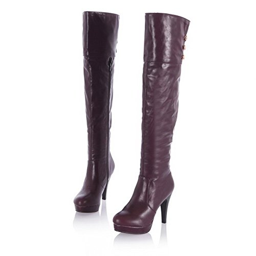 VogueZone009 Womens Closed Toe Round Toe High Heels PU Soft Material Solid Boot with Metalornament