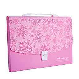 12-Pockets A4 Expanding Accordion File Folder with Buckle Closure [Pink]