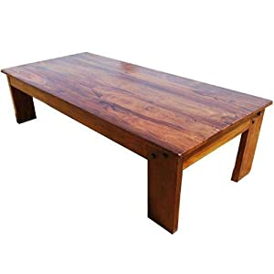 Amish wood large rectangular rustic coffee for Coffee tables amazon