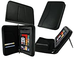 rooCASE Executive Portfolio (Black) Leather Case Cover with Landscape / Portrait View for Amazon Kindle Fire 7-Inch Android Tablet (NOT Compatible with Fire HD)