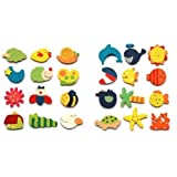 Umiwe(TM) Lovely Baby Toy Wooden Cartoon Refrigerator Magnets For Children (Random Color,Set of 12) With Umiwe Accessory