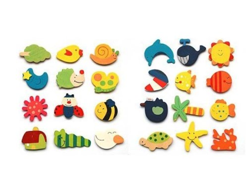 Niceeshop(Tm) Lovely Baby Toy Wooden Cartoon Refrigerator Magnets For Children (Random Color,Set Of 12) front-675390