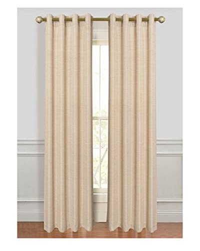 Cay Trading Set of 2 Dainty Home Antique Silk Window Curtains, Mocha