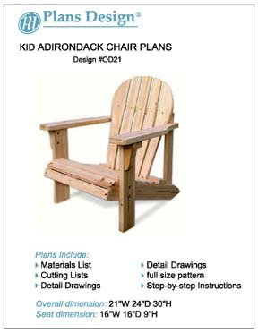 Child Adirondack Chair Woodworking Plans, Full Sized Patterns, #ODF21