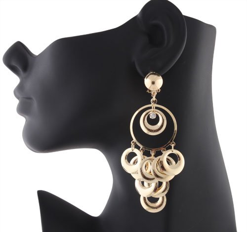 Ladies Gold Multiple Rings with Stone Clip on Earrings