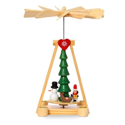 SIKORA Holz Mini Weihnachtspyramide mit Schneemann und Nikolaus - für Wachskerzen - H: 16cm