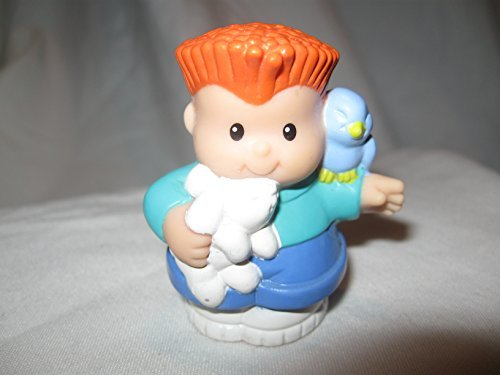 Fisher Price Little People Pet Shop Groomer Animal Care Center RARE Red Haired Boy Holding Bunny and Blue Bird OOP 1997