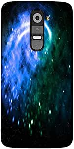 Snoogg Blue Galaxy Background Designer Protective Back Case Cover For LG G2