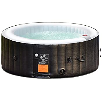 Goplus 4 Person Portable Inflatable Hot Tub for Outdoor Jets Bubble Massage Spa Relaxing w/ Cover & Accessories Filter Cartridge Repair Kit (Black)