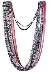 AW Items Women's Status Print Jewelry Scarf, Black/Red/Ivory, One Size