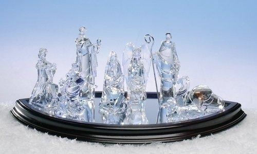 8-Piece Icy Crystal Religious Christmas Nativity Figurine Set