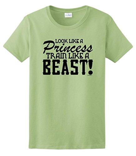 Look Like A Princess Train Like A Beast Ladies T-Shirt 2Xl Pistachio
