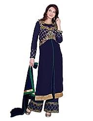 Lookslady Embroidered Dark Blue Pure Georgette Zari Work Semi Stitched Salwar Suit