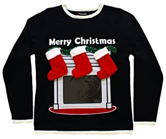 Lighted Fireplace Ugly Christmas Sweater With Tablet Pouch In Black At Amazon Men S Clothing