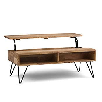 Simpli Home AXCHUN-01 Hunter Solid Mango Wood Mid-Century Coffee Table in Natural