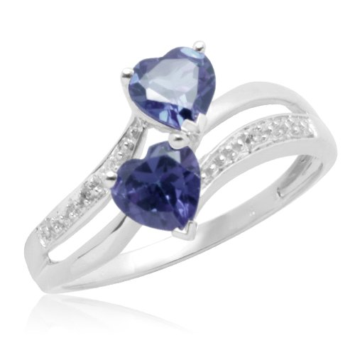 10k White Gold Double Heart-Shaped Created Ceylon Sapphire with Diamonds Heart Ring, Size 7