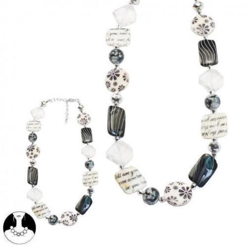 sg paris women necklace necklace 44cm+ext rhodium crystal black white shell
