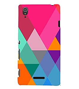 Graphic Color Pattern 3D Hard Polycarbonate Designer Back Case Cover for Sony Xperia T3