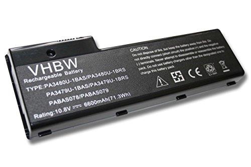 vhbw Li-Ion Batterie 6600mAh (10.8V) pour ordinateur portable, Notebook Toshiba Satellite P105-S6148, P105-S6157, P105-S6158 comme PA3479U-1BRS.