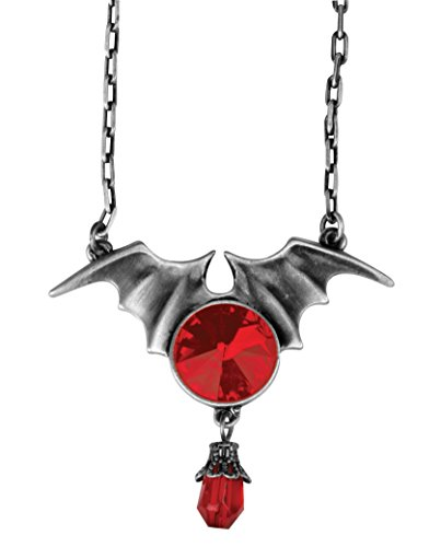 Batwing W/ Ruby Pendant Collectible Medallion Necklace Accessory
