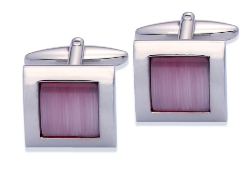 Code Red Base Metal Rhodium Plated Cufflinks With Pink Colour Real Cats Eye Stones
