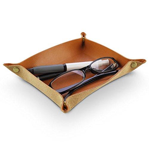 日本製 卓上トレイ 最高級の皮革製 栃木レザーデスクトレー 本革 小物入れ レザートレイ (キャメル)