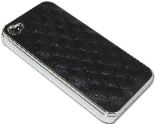 Hot Luxury Designer Quilted Leather Chrome Case Cover for Apple iPhone 4 4G