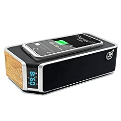 JE Qi Stereo Bluetooth 4.0 EDR Speaker Wireless Charger Alarm Clock Radio Mic and LED Time,TF Card Phone Answer Support FM Radio and Charging for Samsung Galaxy S7 S6 Edge Plus Samrt Phone
