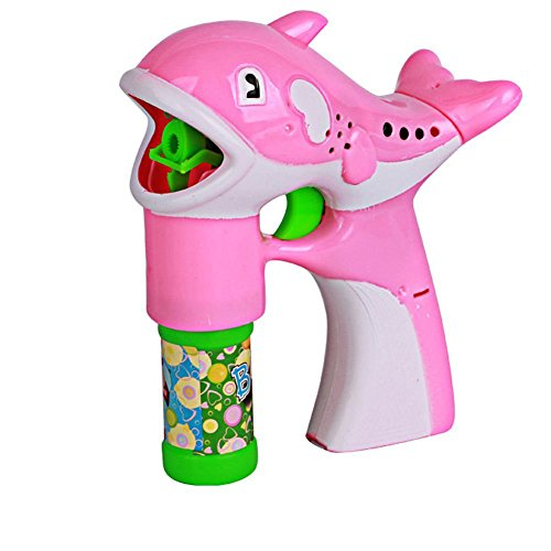 Babrit Dolphin Bubbles Blowing Gun Soap Machine Automatic Light Up Dolphins Bubble Gun Pink Color (Baby Bubble Blower compare prices)