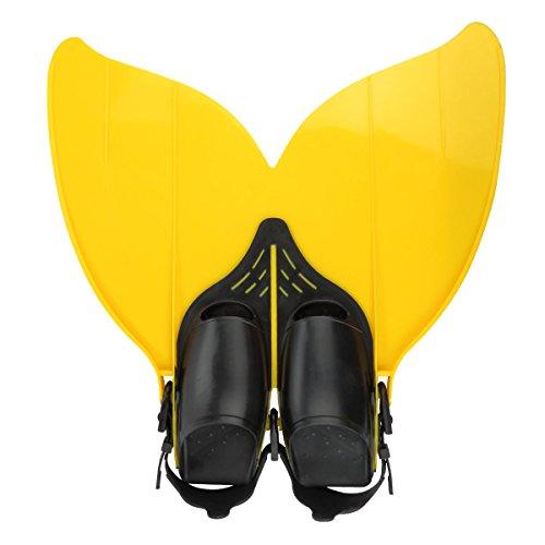 Besmall Jugendliche Flossen Trainingsflossen Schwimmen Flossen Monoflosse Taucherflossen Monofin(Gelb/Blau)