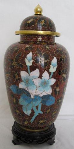 "8"" Beijing Cloisonne Cremation Urn Hong Kong Style Brown W/Flowers (BCURH2804-004)"