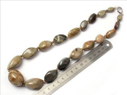 16--30mm graduated sliver leaf jasper beads strand necklace 18