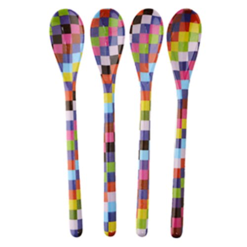 French Bull Melamine Dessert Spoon, Pixie Check, Set of 4